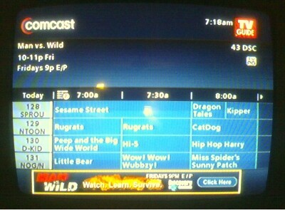 comcast tv guide for today