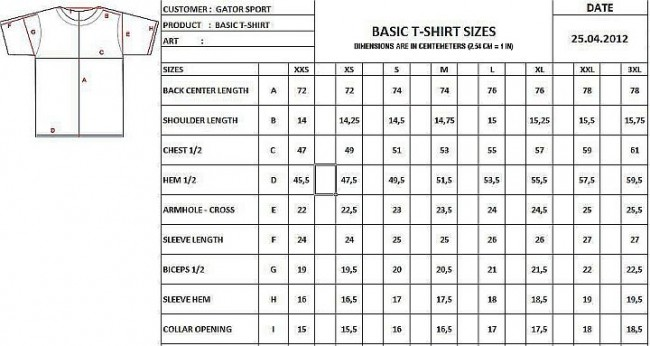 t shirt size guide men