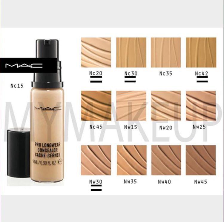 mac pro longwear concealer shade guide