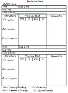 guided reading conference forms for teachers